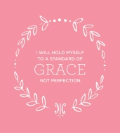 "[image description: a pink background with a circle of white hand-drawn leaves. Within the circle these words are written in white capital letters, with the word grace in a larger size in the center: ""I will hold myself to a standard of grace not perfection.""]"